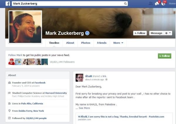 Hacker publica no mural de Mark Zuckerberg